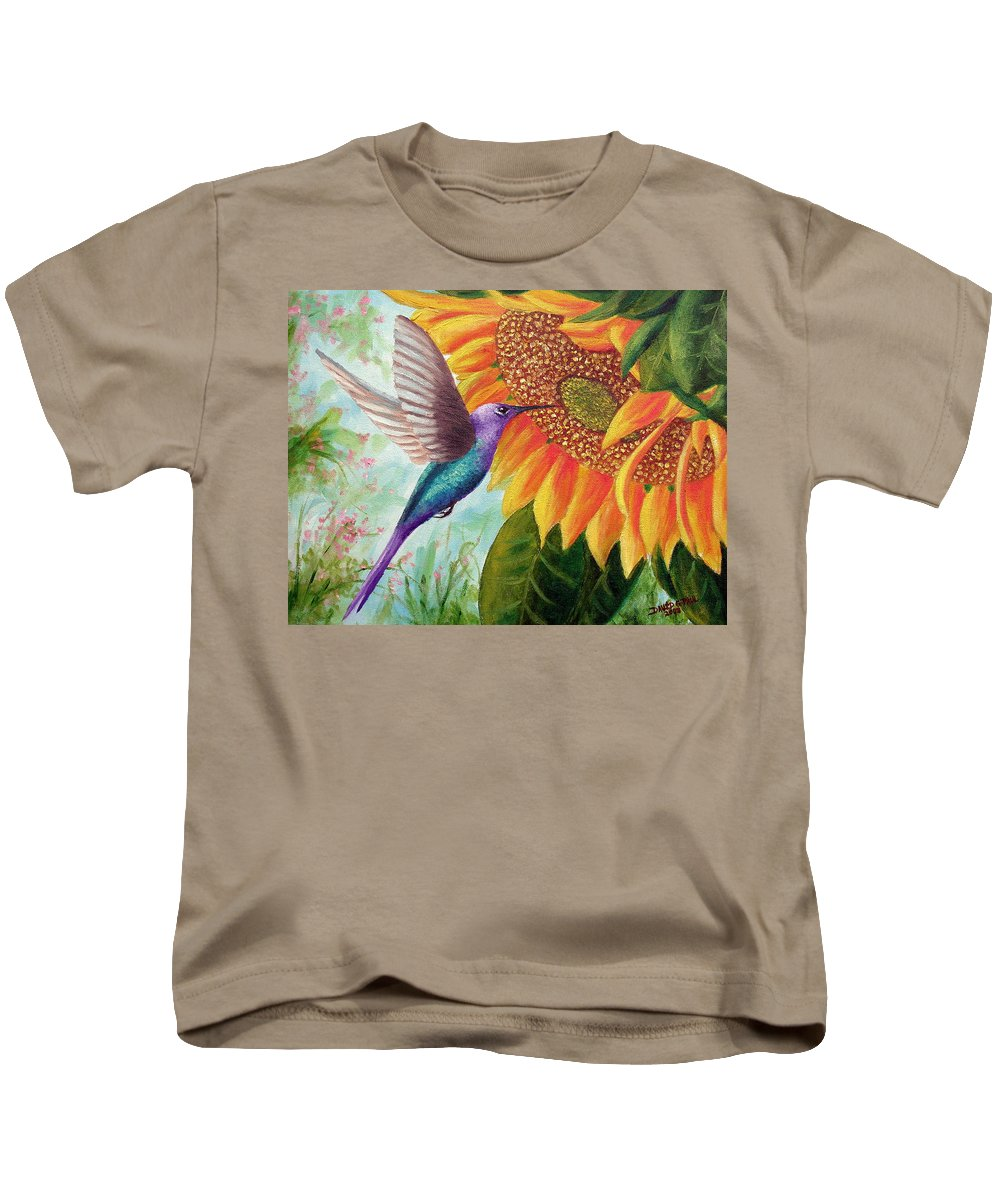Hummingbird Kids T-Shirt featuring the painting Humming For Nectar by David G Paul