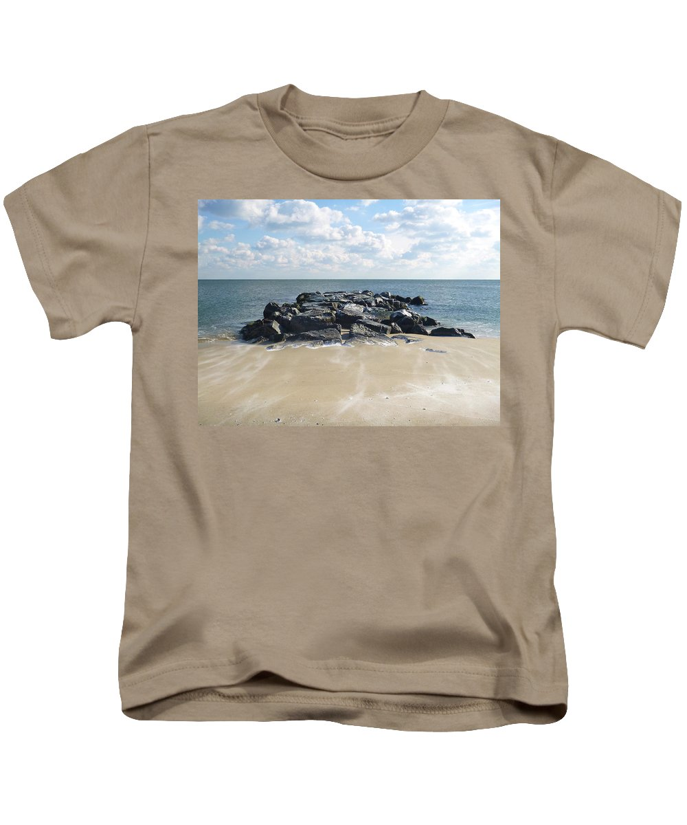 Ocean Grove Kids T-Shirt featuring the photograph Icy Rocks And Blowing Snow by Ellen Paull