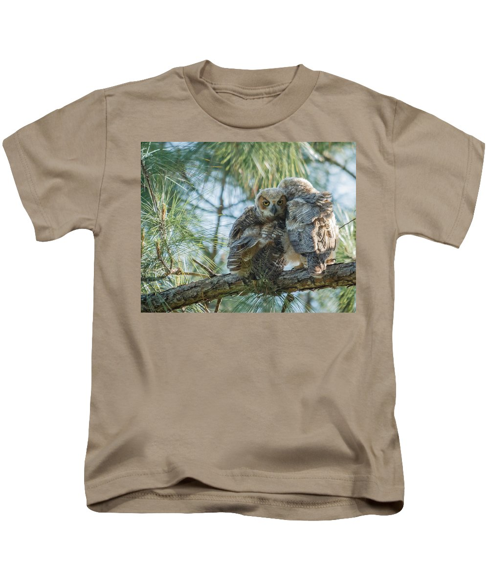Florida Kids T-Shirt featuring the photograph Immature Great Horned Owls by Jane Luxton