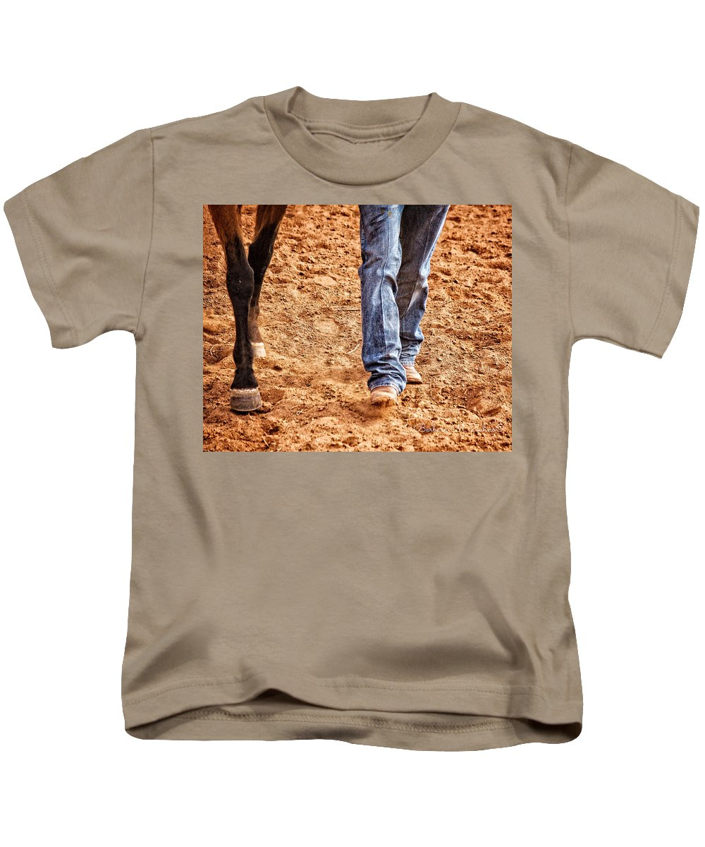 Horses Kids T-Shirt featuring the photograph In Step by Barbara Zahno