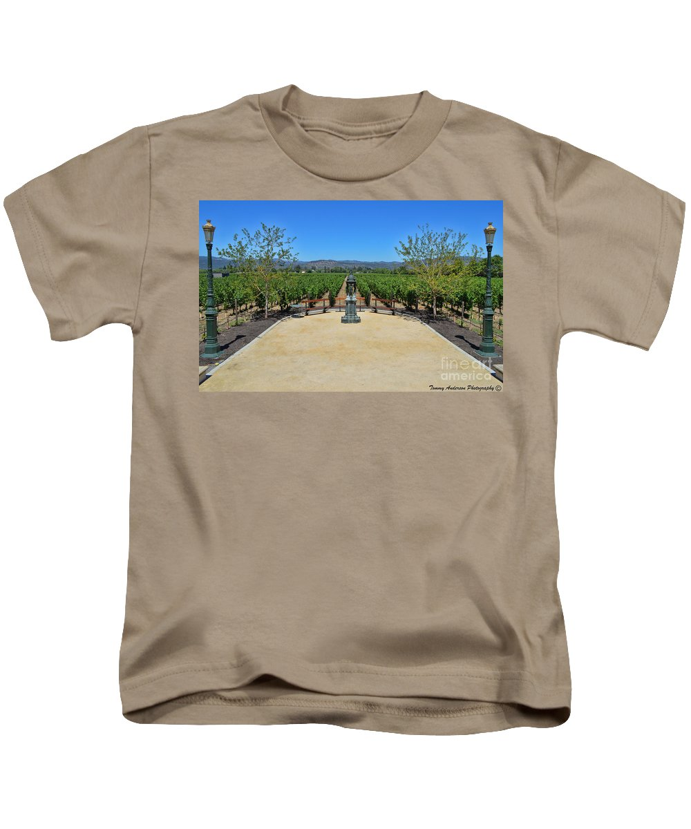 Inglenook Vineyard Kids T-Shirt featuring the photograph Inglenook Vineyard -3 by Tommy Anderson