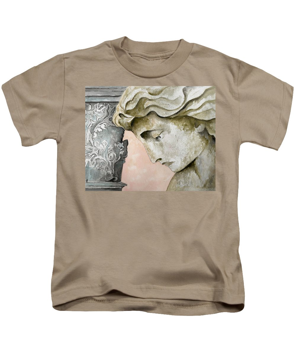 Watercolor Kids T-Shirt featuring the painting Introspective by Brenda Owen