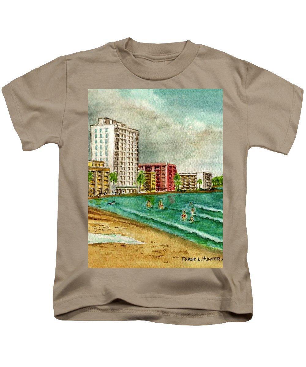 Isla Verde San Juan Puerto Rico Buildings Towel Surf Kids T-Shirt featuring the painting Isla Verde Beach San Juan Puerto Rico by Frank Hunter
