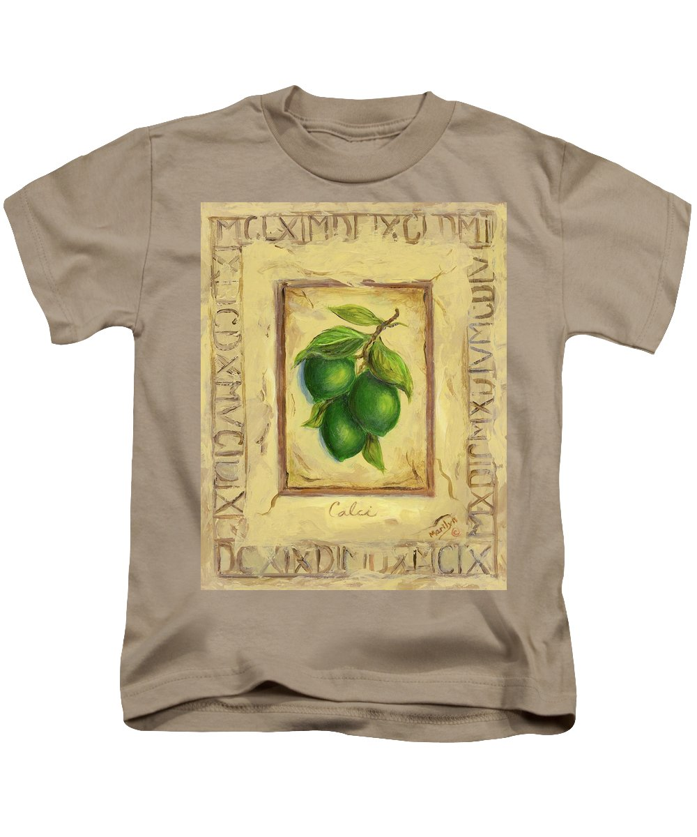Italy Kids T-Shirt featuring the painting Italian Fruit Limes by Marilyn Dunlap