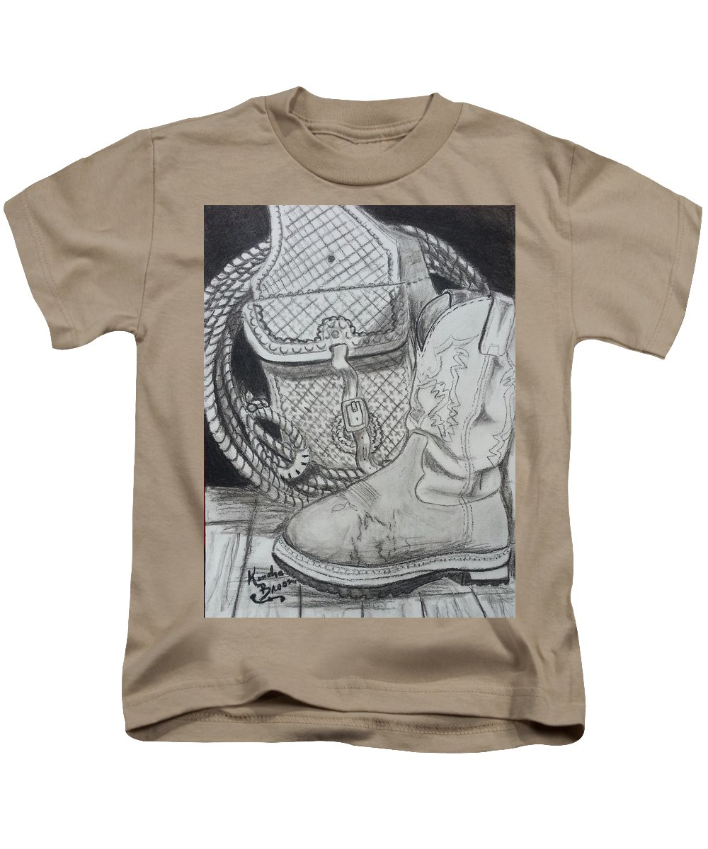 Cowgirl Boots Kids T-Shirt featuring the drawing It's A Lifestyle by Kendra DeBerry