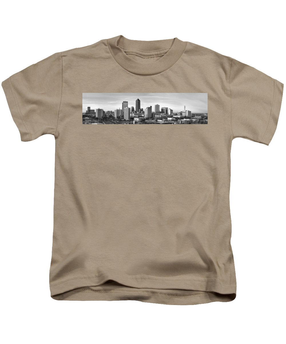 Jacksonville Skyline Kids T-Shirt featuring the photograph Jacksonville Skyline Morning Day Black And White Bw Panorama Florida by Jon Holiday