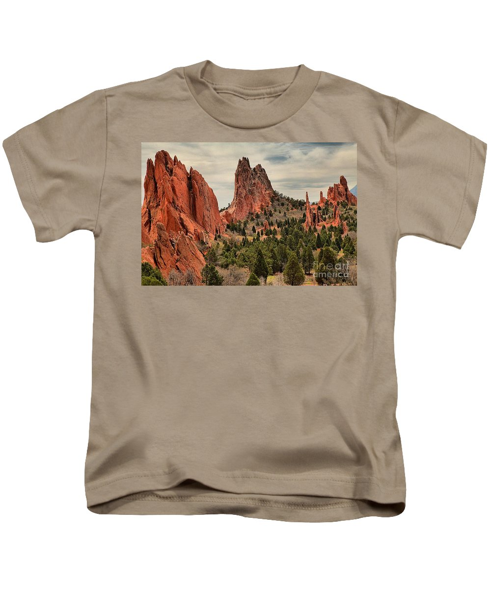 Garden Of The Gods Kids T-Shirt featuring the photograph Jagged Peaks Of The Gods by Adam Jewell