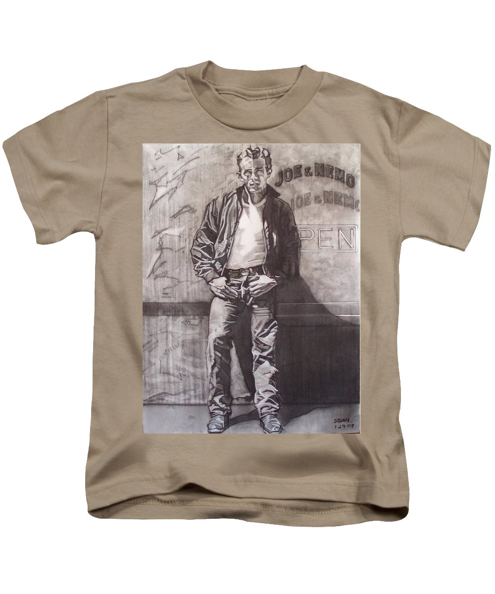 Charcoal; Icon;americana;cool;window;sidewalk;street;rock And Roll;jeans;t-shirt;diner;movie Star Kids T-Shirt featuring the drawing James Dean by Sean Connolly