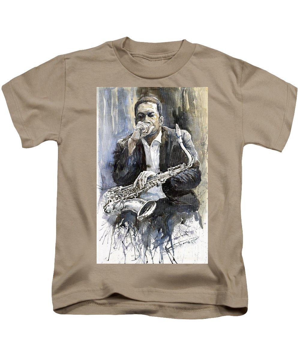 Jazz Kids T-Shirt featuring the painting Jazz Saxophonist John Coltrane Yellow by Yuriy Shevchuk