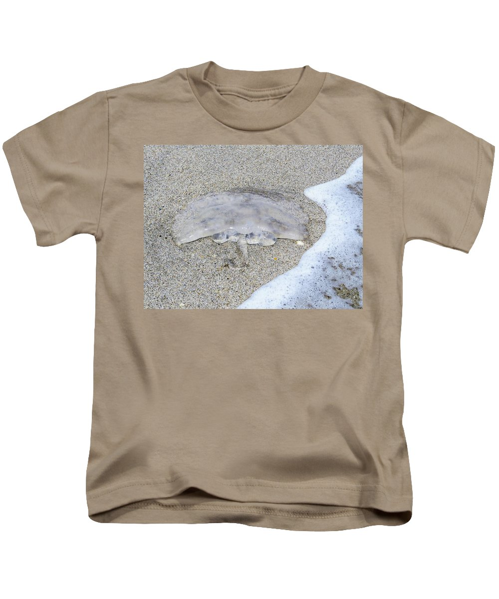 Jellyfish Kids T-Shirt featuring the photograph Jellyfish On The Sand by Zina Stromberg