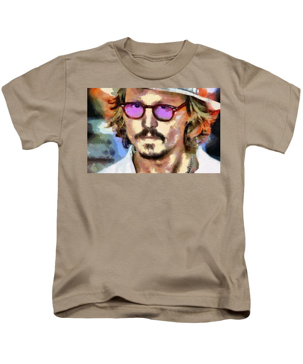 Johnny Depp; Actor; American Actor; Film Producer; Teen Idol; Edward Scissorhands; Pirates Of The Caribbean; Sex Symbol Kids T-Shirt featuring the painting Johnny Depp Actor by Georgi Dimitrov