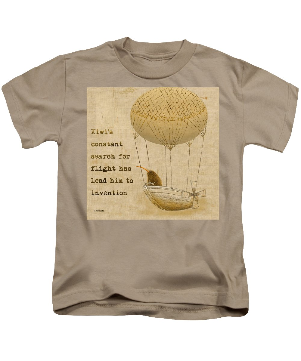 Kiwi Kids T-Shirt featuring the digital art Kevs Invention by Marlene Watson