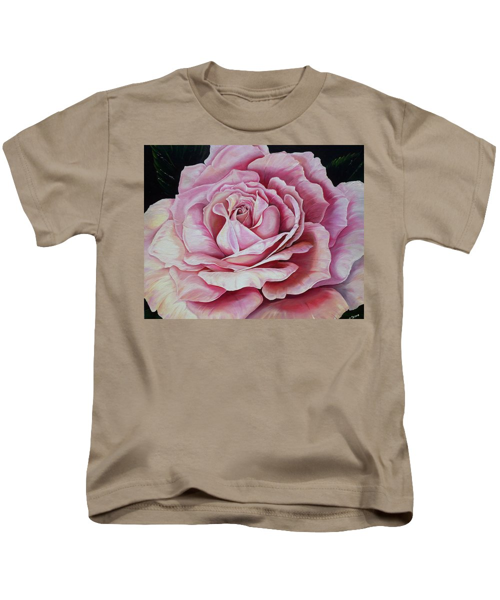 Rose Painting Pink Rose Painting  Floral Painting Flower Painting Botanical Painting Greeting Card Painting Kids T-Shirt featuring the painting La Bella Rosa by Karin Dawn Kelshall- Best