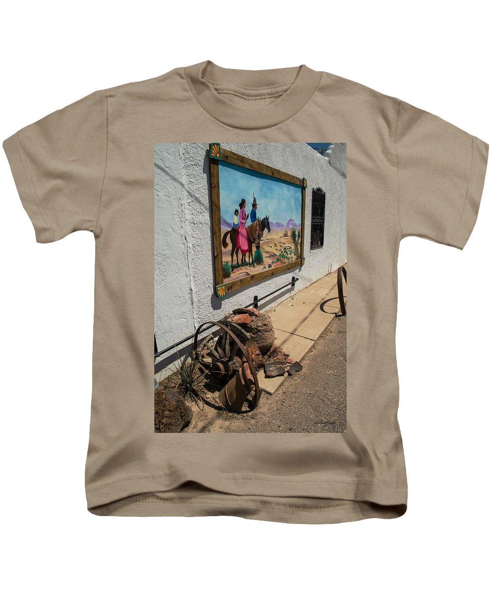 Mesilla Kids T-Shirt featuring the photograph La Mesilla Outdoor Mural by Allen Sheffield