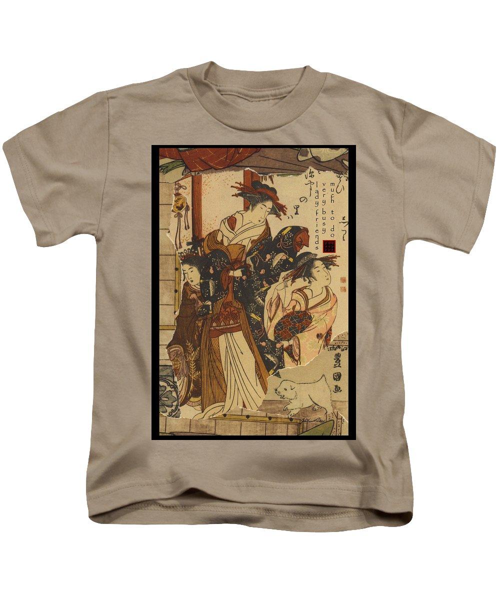 Collage Kids T-Shirt featuring the digital art Lady Friends by John Vincent Palozzi