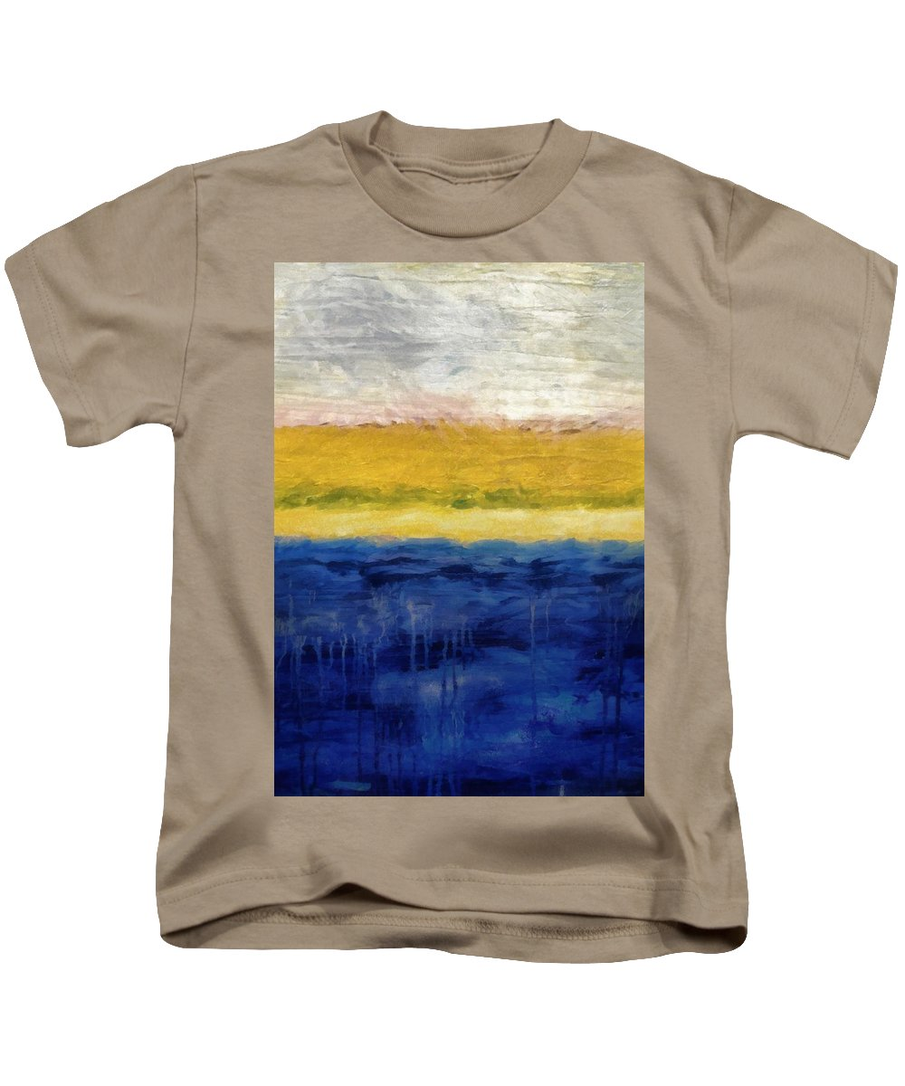 Oceanside Kids T-Shirt featuring the painting Lapis And Gold Get Married by Michelle Calkins