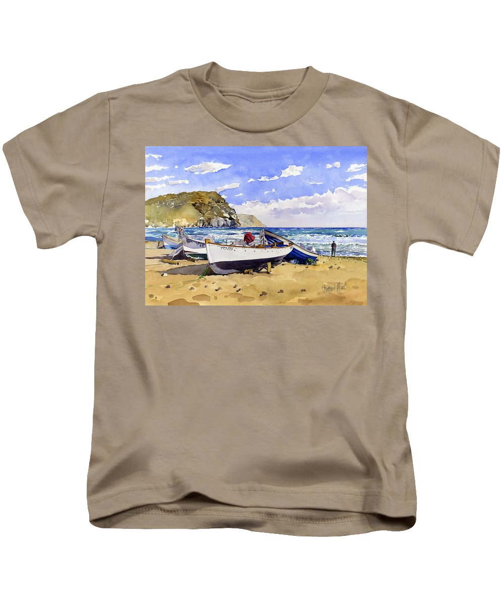 Seascape Kids T-Shirt featuring the painting Las Negras by Margaret Merry