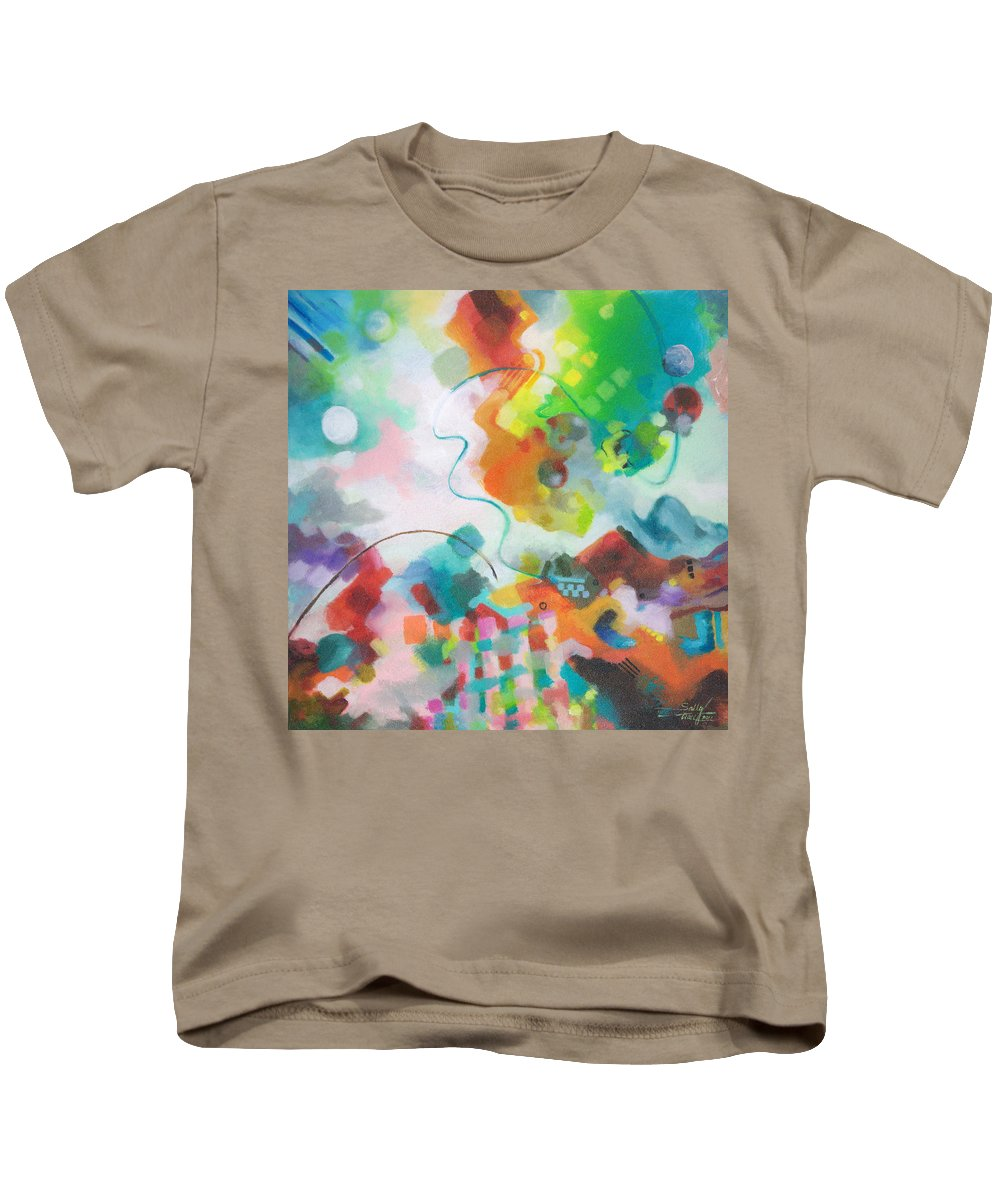 Abstract Kids T-Shirt featuring the painting Lasso Moon by Sally Trace