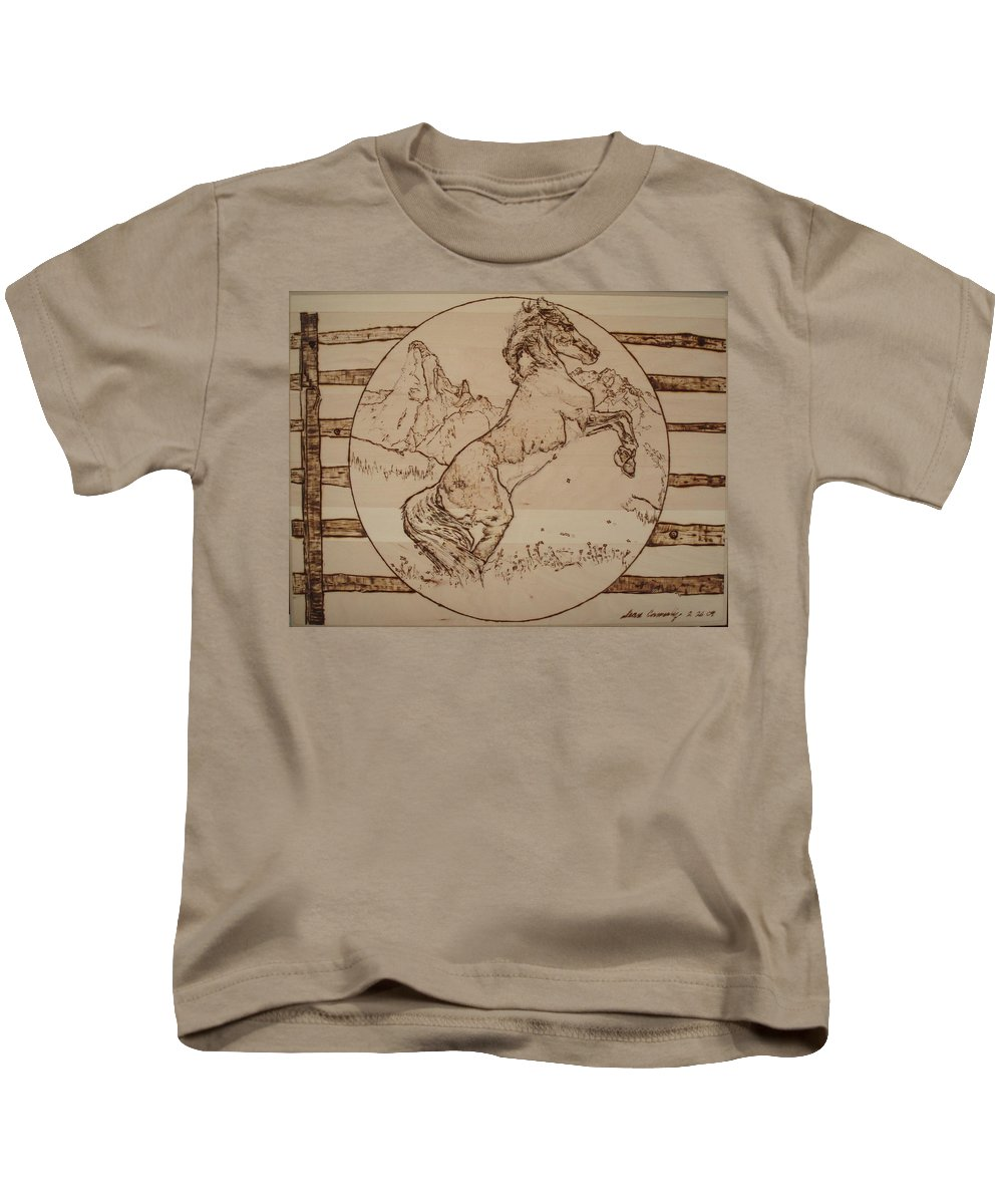 Pyrography Kids T-Shirt featuring the pyrography Wild Horse by Sean Connolly