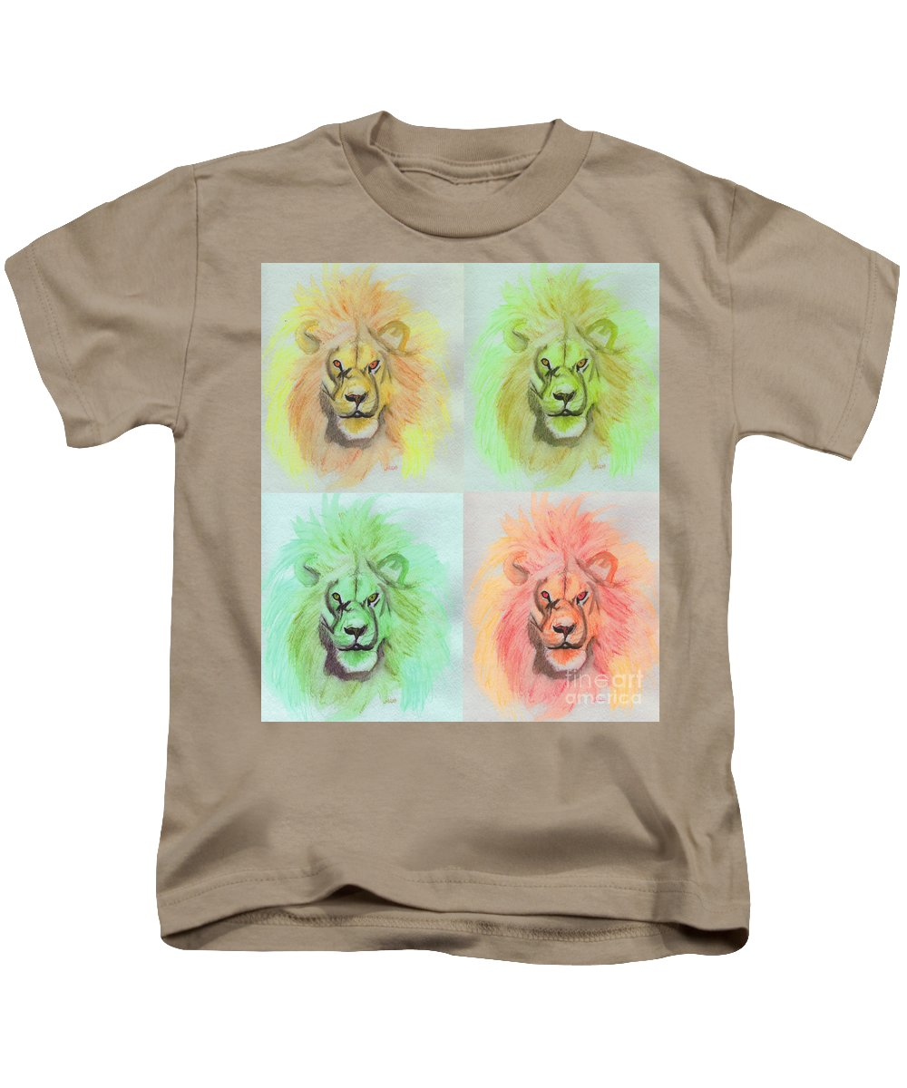 Lion Kids T-Shirt featuring the painting Lion X 4 by First Star Art