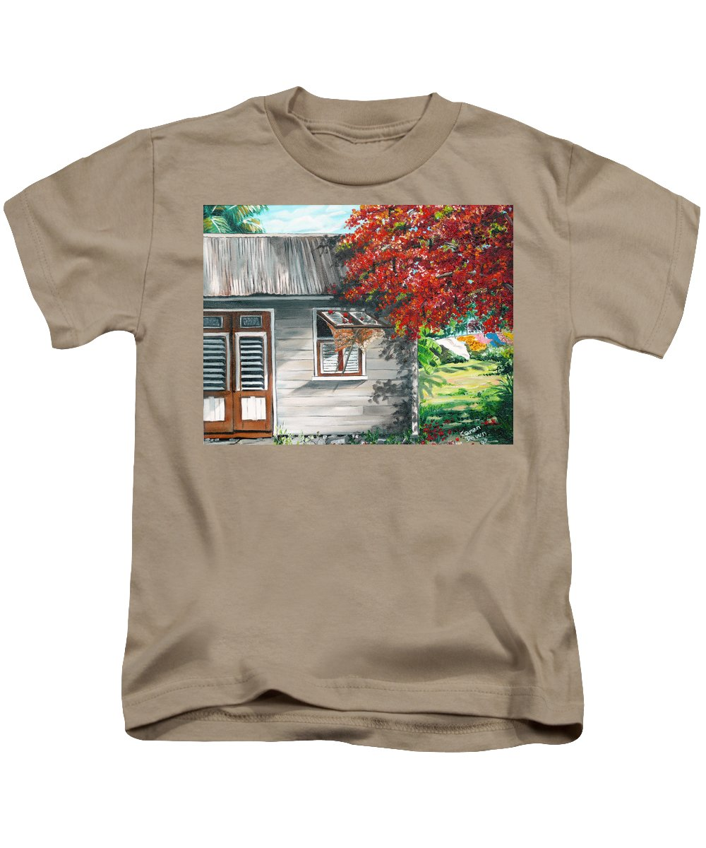 Caribbean Painting Typical Country House In The Caribbean Or West Indian Islands With Flamboyant Tree Tropical Painting Kids T-Shirt featuring the painting Little West Indian House 1 by Karin Dawn Kelshall- Best