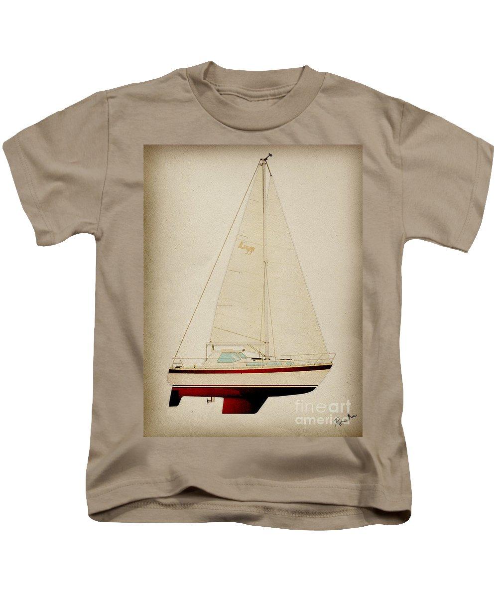 Regina Gallant Kids T-Shirt featuring the drawing Lm Historic Sailboat by Regina Marie Gallant