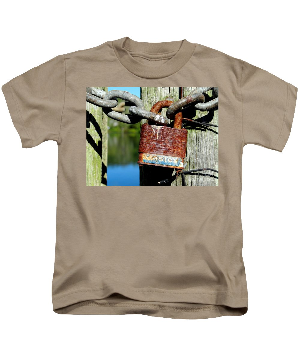 Lock Kids T-Shirt featuring the photograph Lock And Chain by Ed Weidman