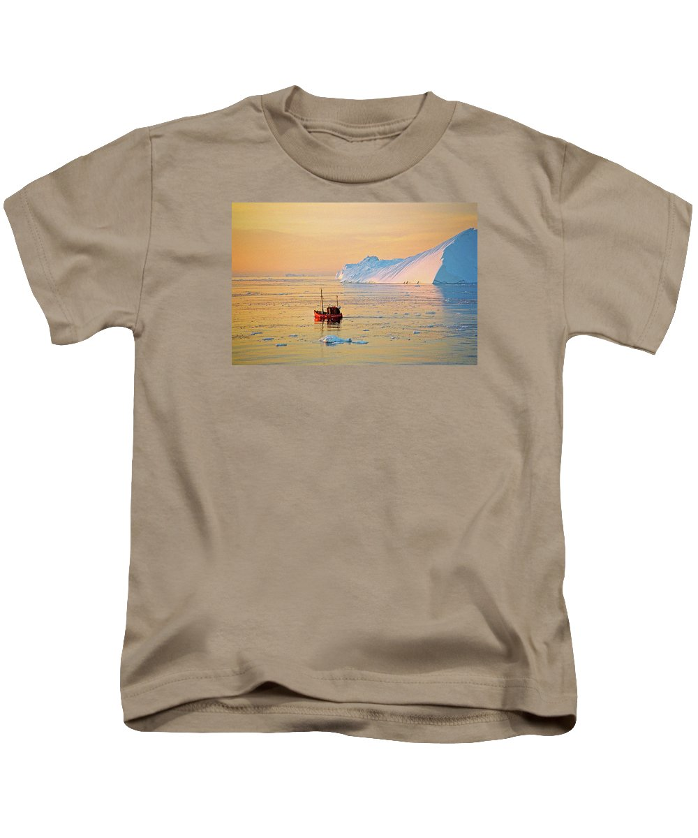Greenland Kids T-Shirt featuring the photograph Lonely Boat - Greenland by Juergen Weiss