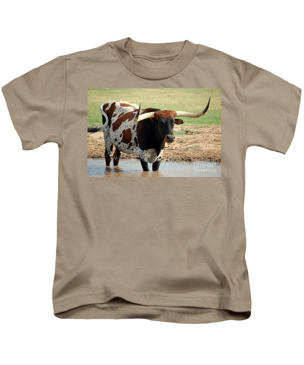 Longhorn Kids T-Shirt featuring the photograph Longhorn by Anjanette Douglas