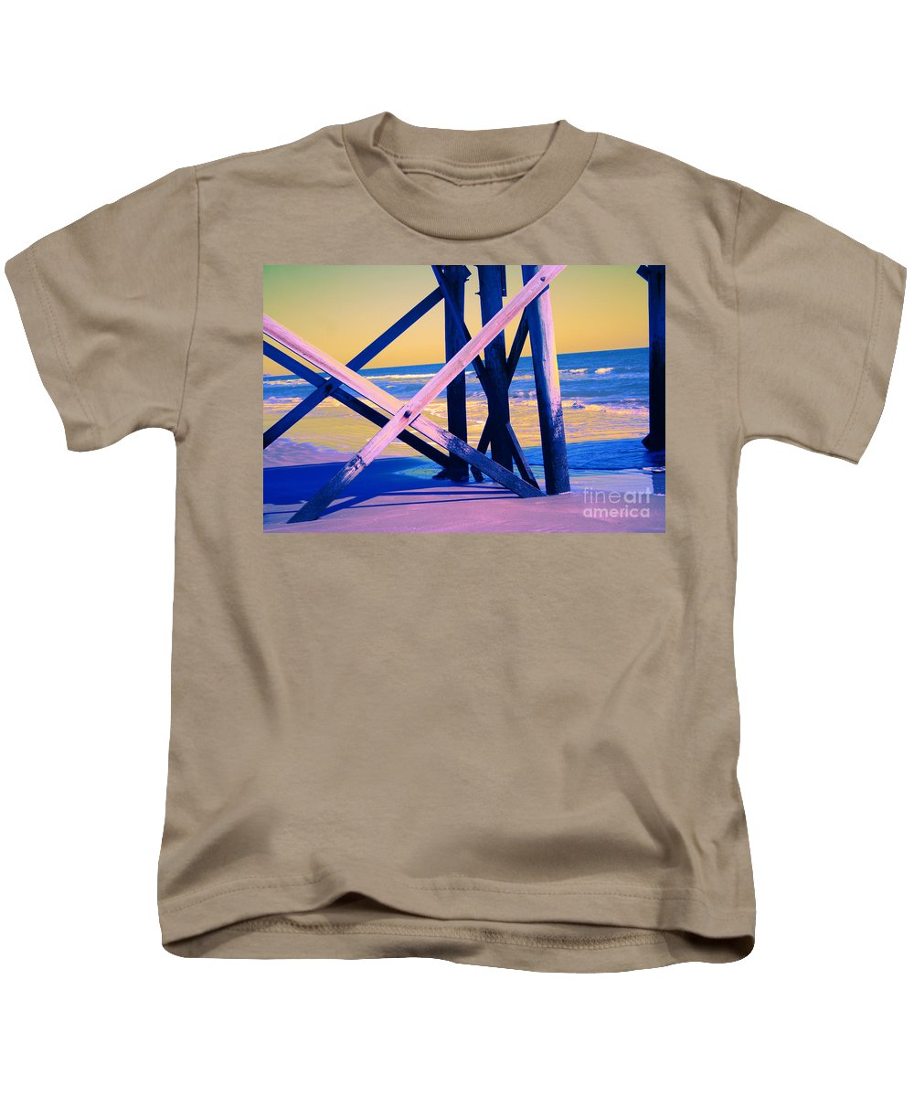 Kids T-Shirt featuring the photograph looking On - Neon by Jamie Lynn