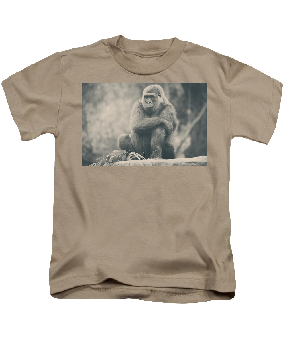 Gorillas Kids T-Shirt featuring the photograph Looking So Sad by Laurie Search