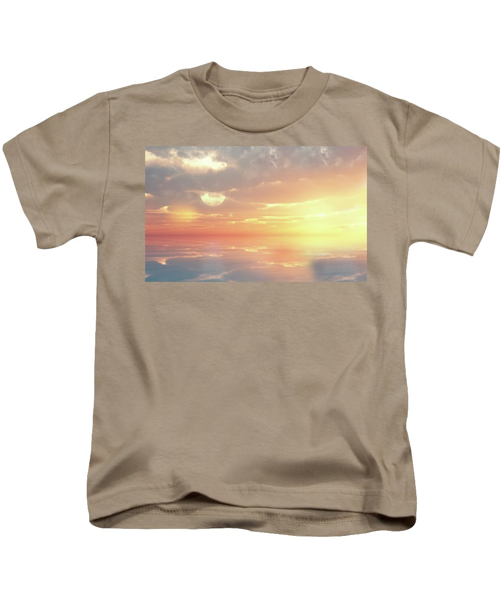 Sunset Kids T-Shirt featuring the digital art Lovers Ocean by Georgiana Romanovna