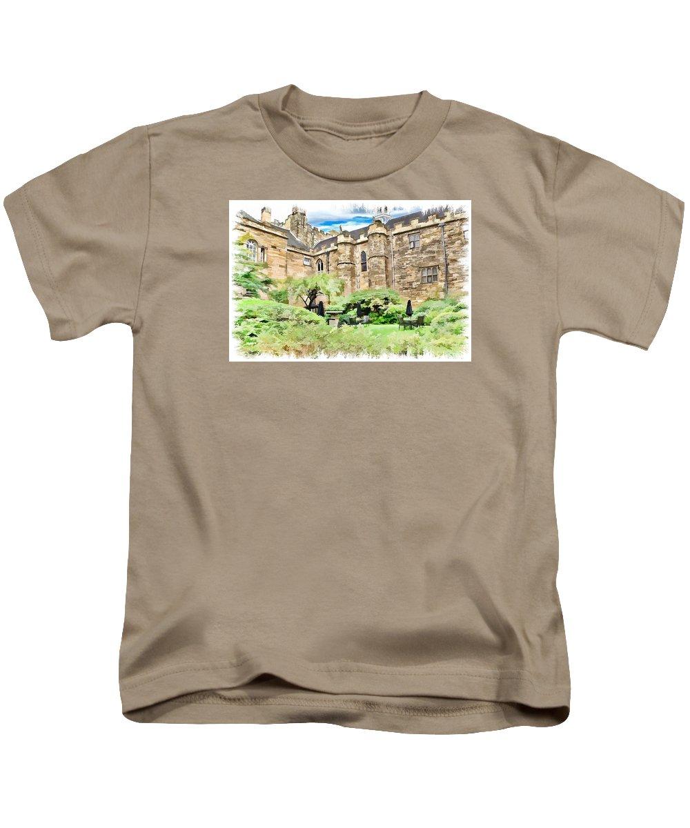 Castle Kids T-Shirt featuring the digital art Lumley Castle by John Lynch