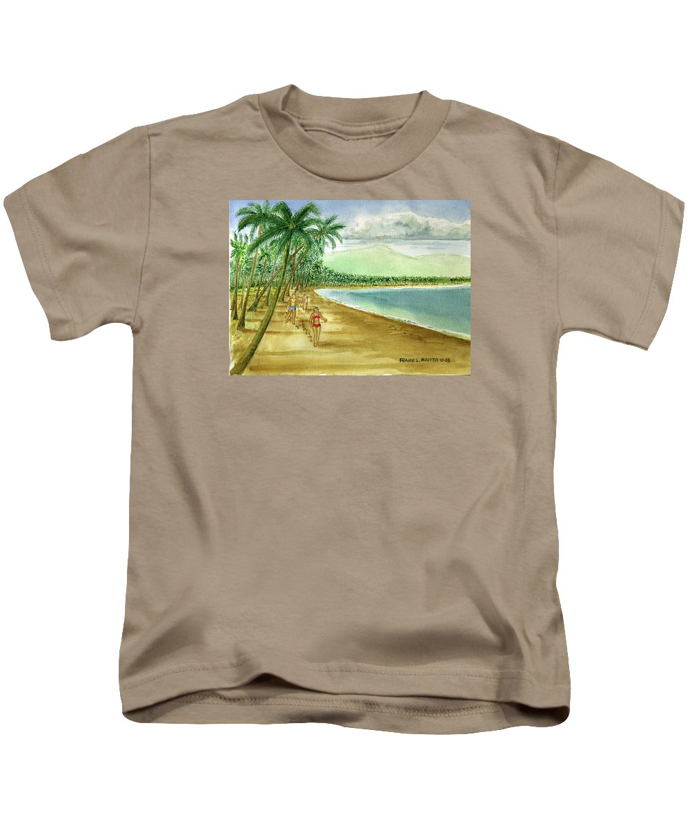 Luquillo Beach El Yunque Mountains Girl Red Bikini Palm Trees Clouds Kids T-Shirt featuring the painting Luquillo Beach And El Yunque Puerto Rico by Frank Hunter