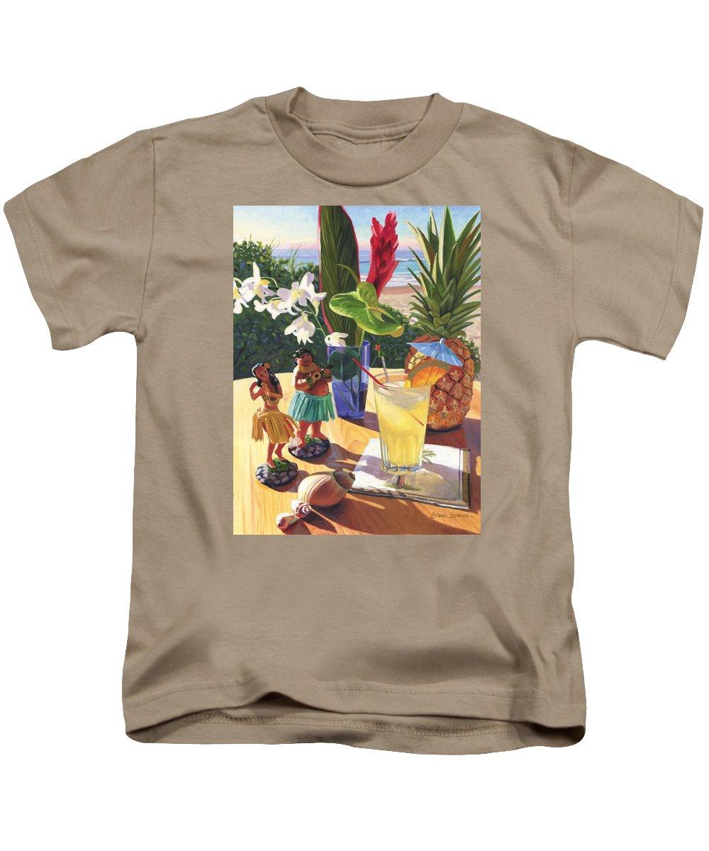 Mai Tai Kids T-Shirt featuring the painting Mai Tai by Steve Simon