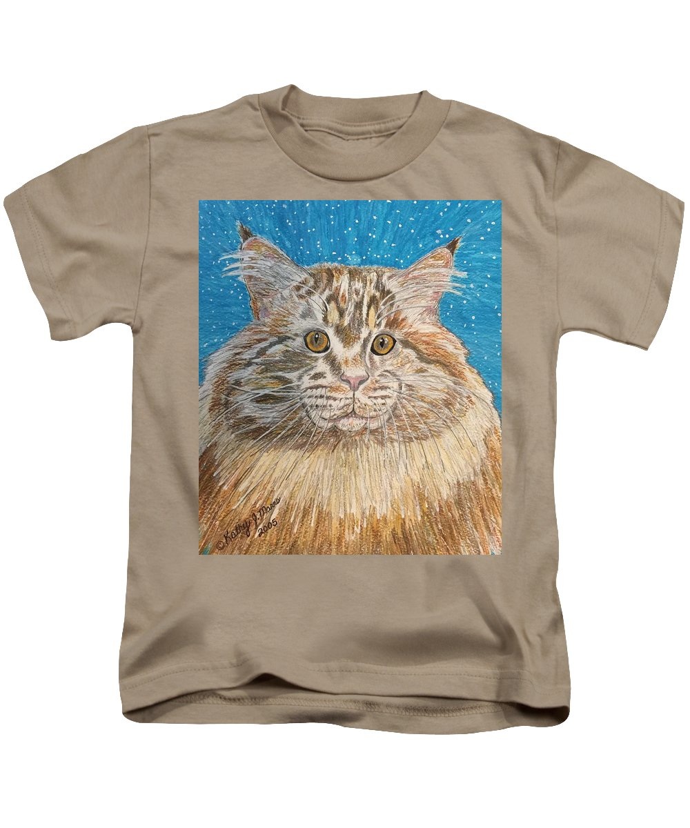 Maine Kids T-Shirt featuring the painting Maine Coon Cat by Kathy Marrs Chandler