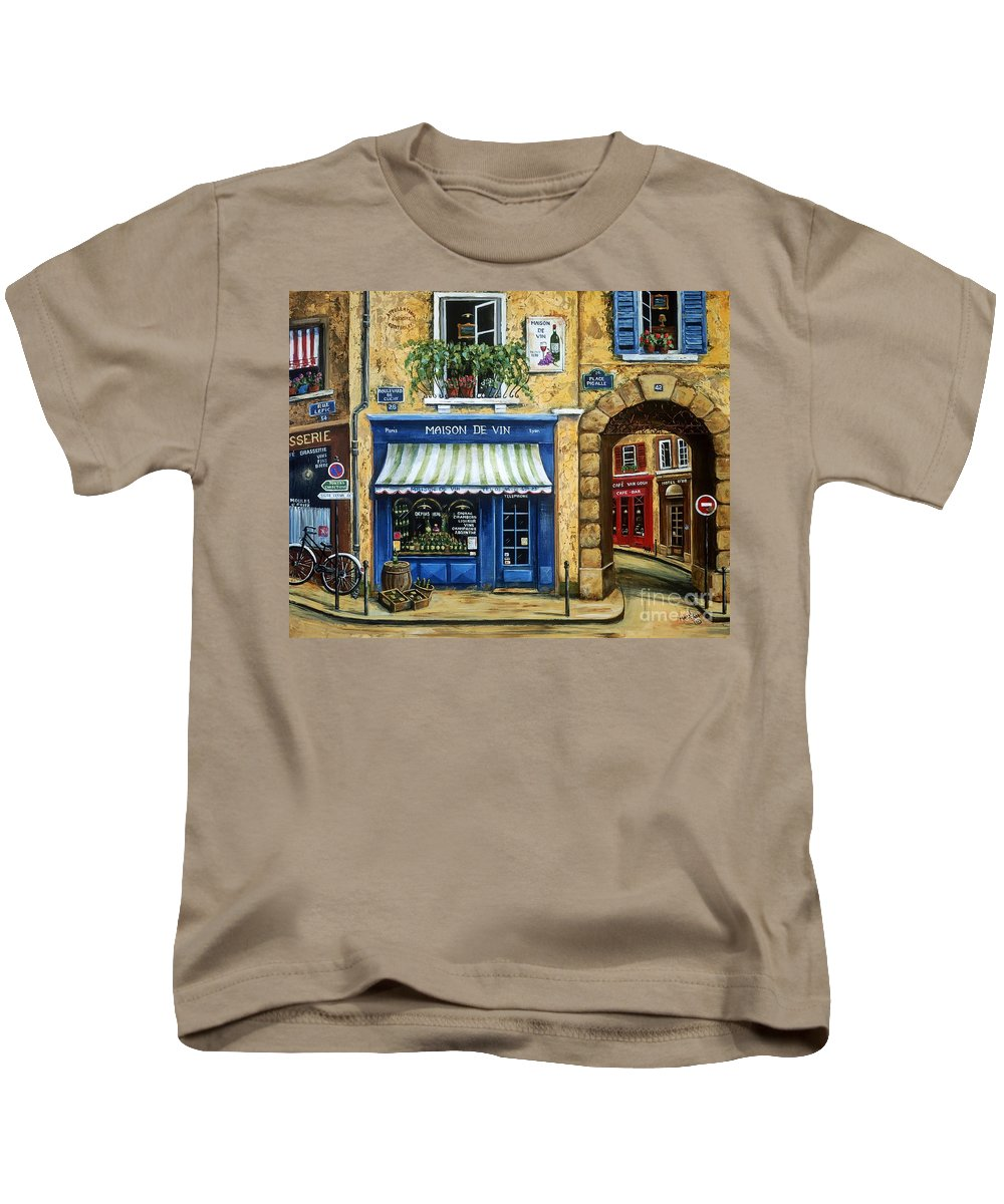Wine Kids T-Shirt featuring the painting Maison De Vin by Marilyn Dunlap