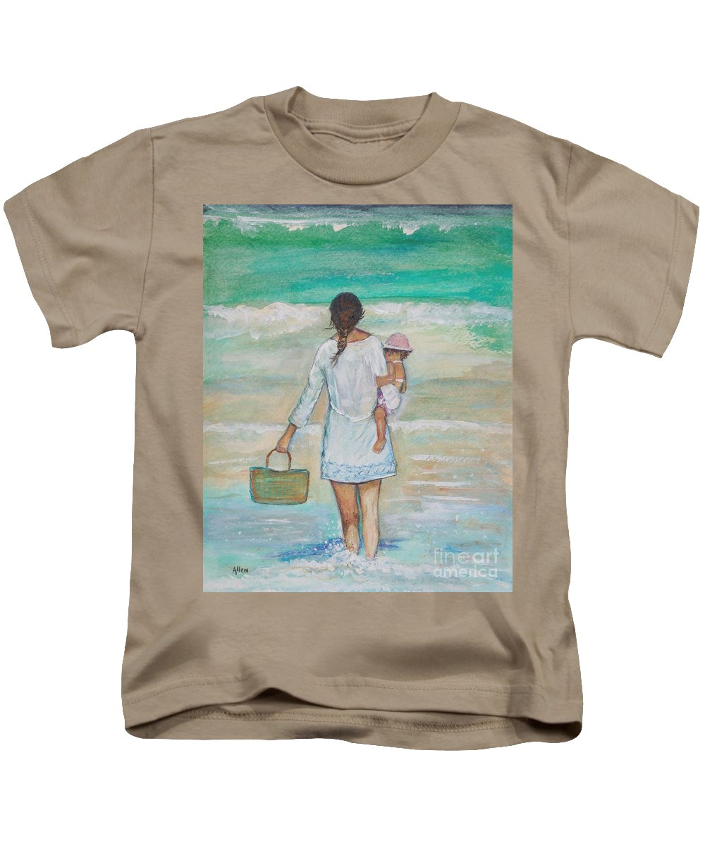 Mother Painting Kids T-Shirt featuring the painting Mama's Beach Day by Leslie Allen
