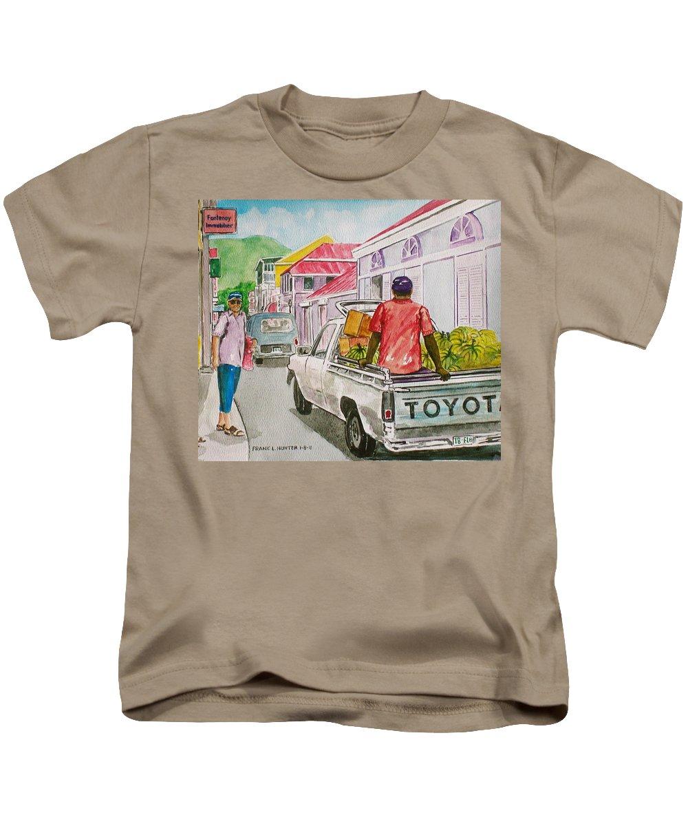 Marigot St. Martin St. Marteen Caribbean Banana Truck Tourist Street Kids T-Shirt featuring the painting Marigot St. Martin by Frank Hunter
