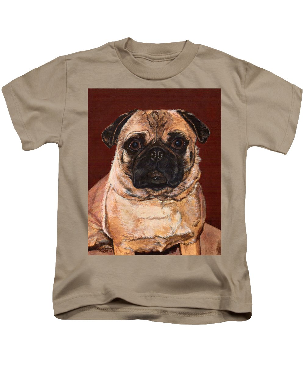 Dog Kids T-Shirt featuring the painting Maxx by Daniel Carvalho