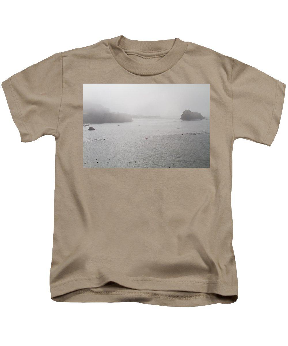 Ocean Rocks Kids T-Shirt featuring the photograph Mendocino Ca Coast Fog by Brian Williamson