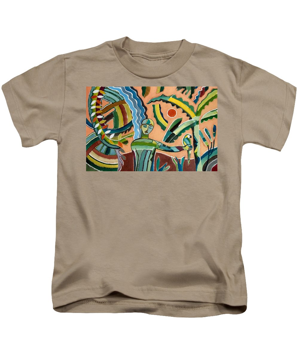 Menino Na Amazonia I Kids T-Shirt featuring the painting Menino Na Amazonia I by Marcio Melo