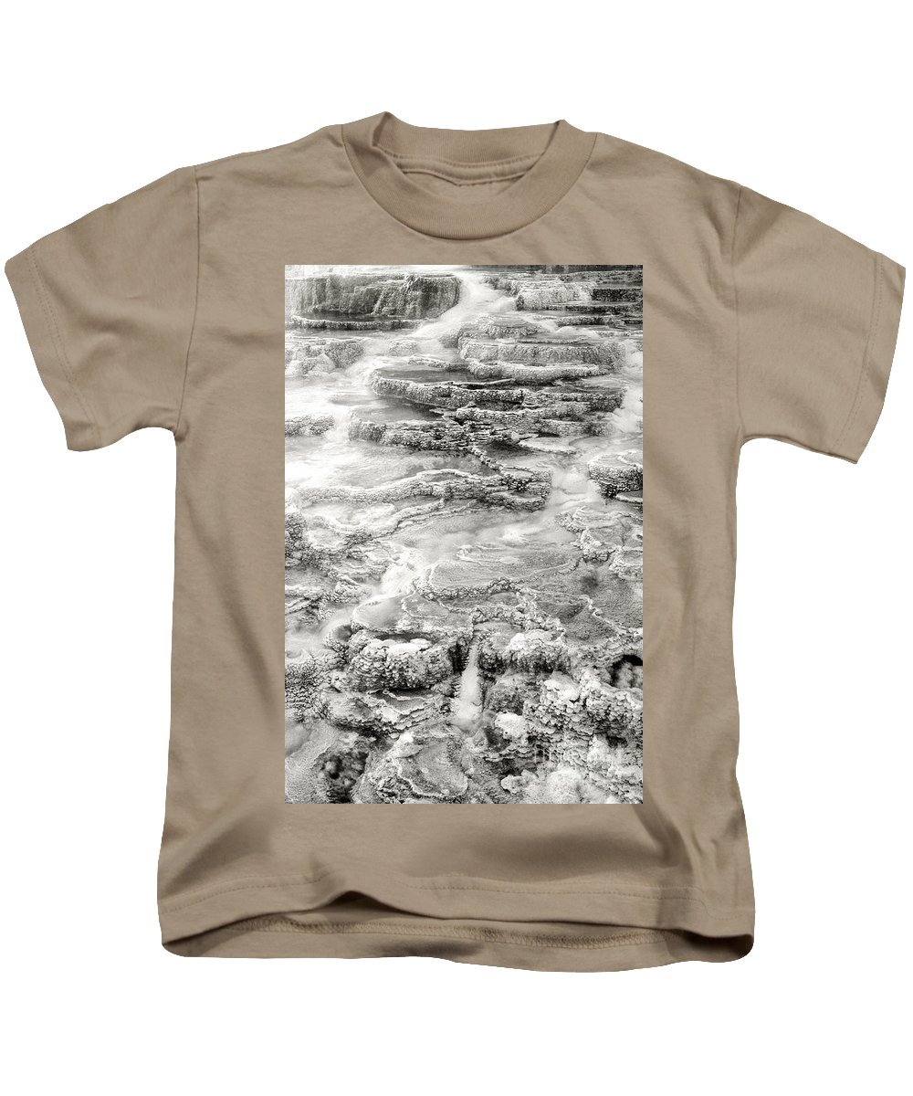 America Kids T-Shirt featuring the photograph Minerva Springs In Black And White Yellowstone National Park Wyoming by Dave Welling