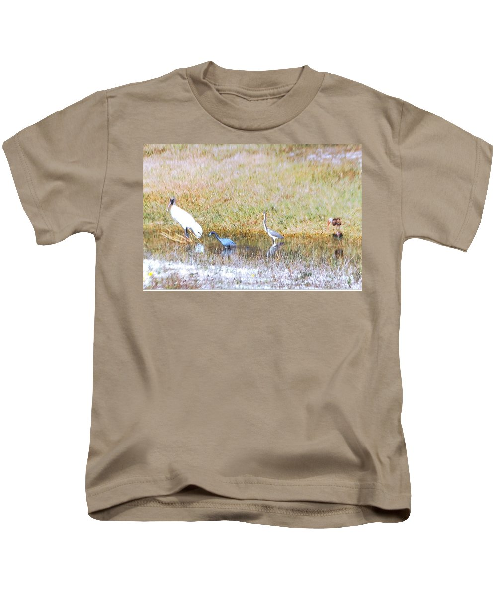 North Ft.myers Kids T-Shirt featuring the photograph Mixed Shore Birds by Robert Floyd