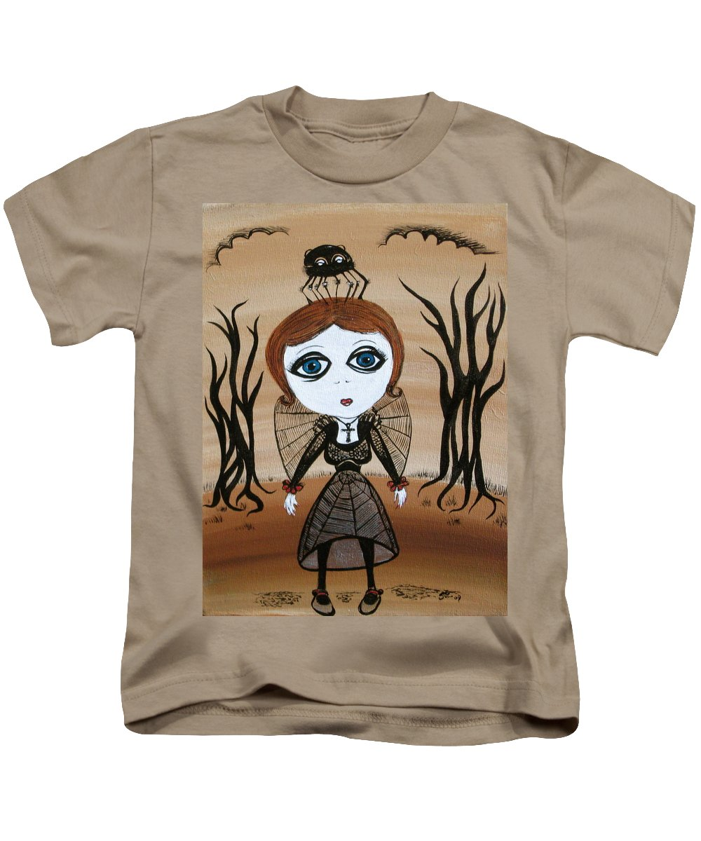 Gothic Kids T-Shirt featuring the painting Miz Goth by Sue Wright