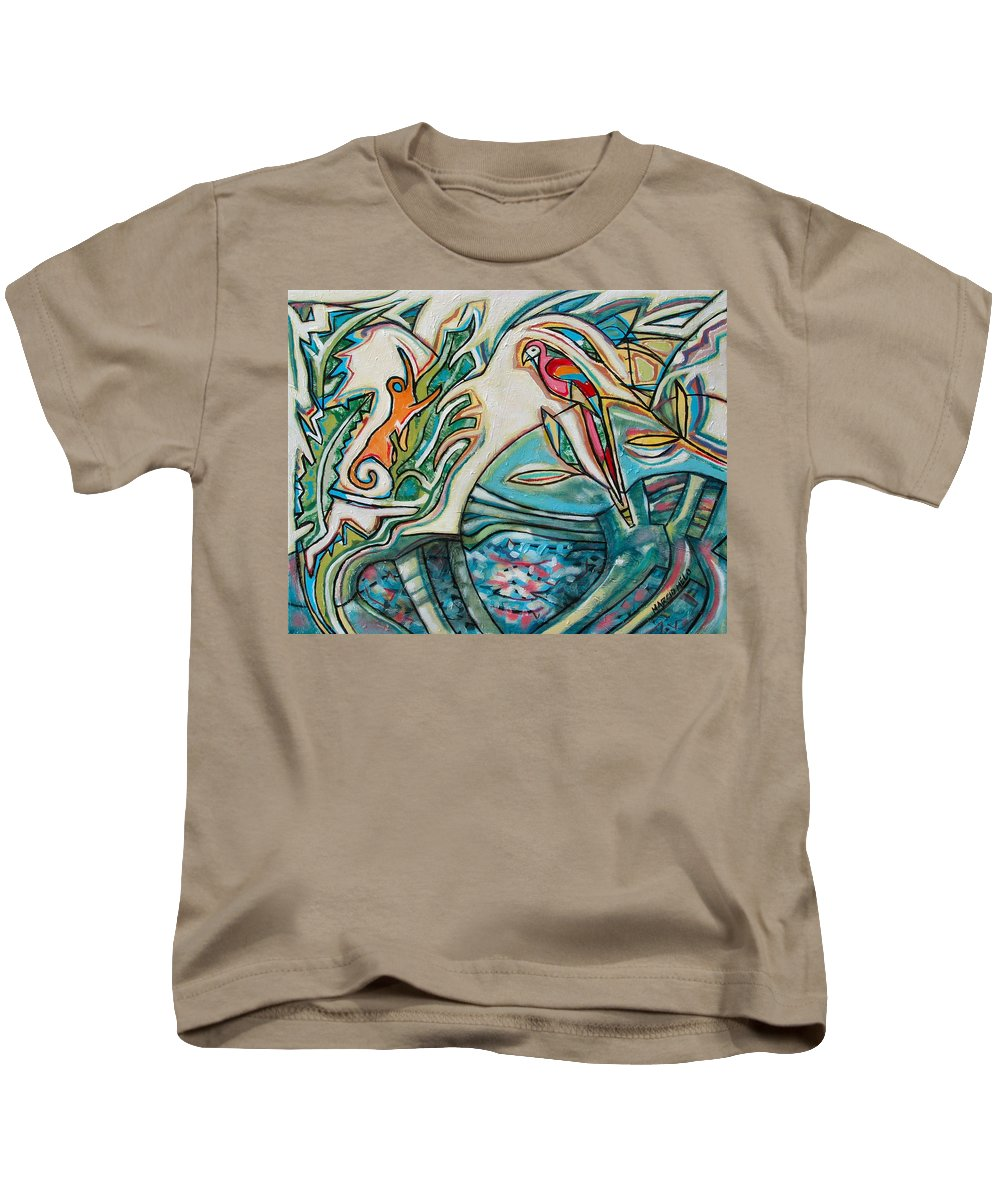 Monkey And Macaw Kids T-Shirt featuring the painting Monkey And Macaw by Marcio Melo