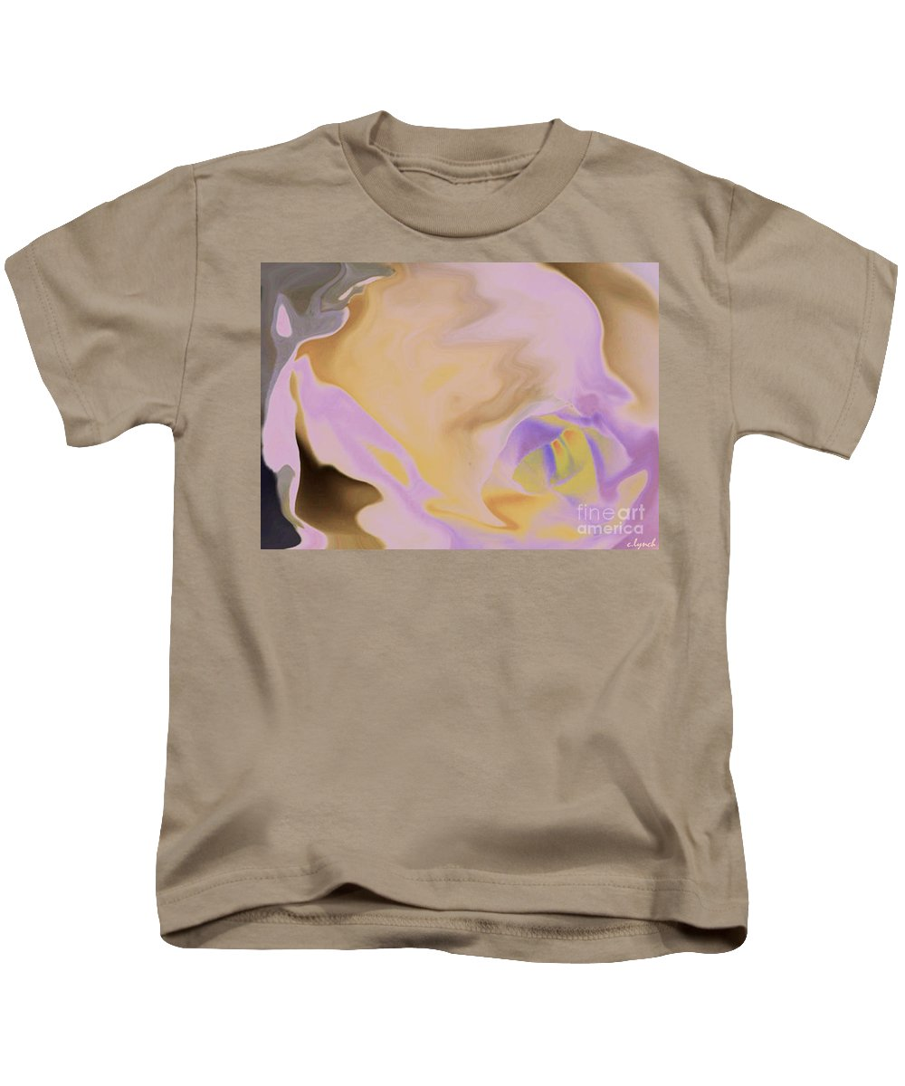 Abstract Kids T-Shirt featuring the digital art Moody Rose by Carol Lynch