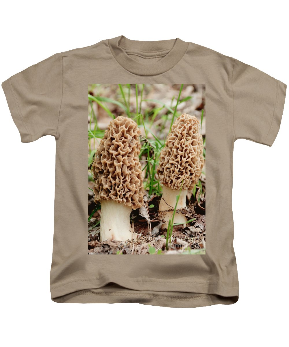 Mushroom Kids T-Shirt featuring the photograph Morel Twins by Cheryl Baxter