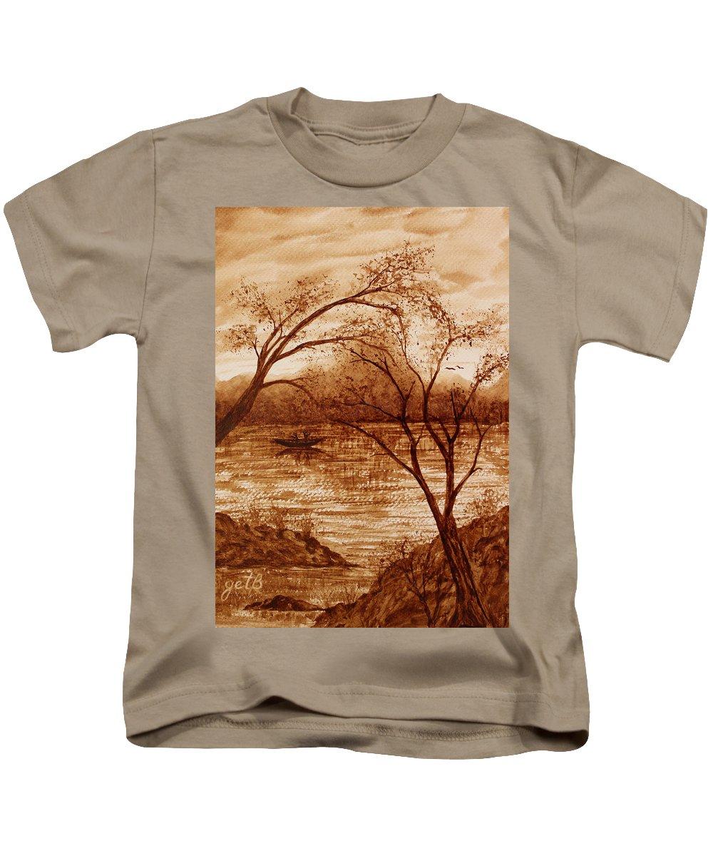 Lake Kids T-Shirt featuring the painting Morning Fishing Original Coffee Painting by Georgeta Blanaru