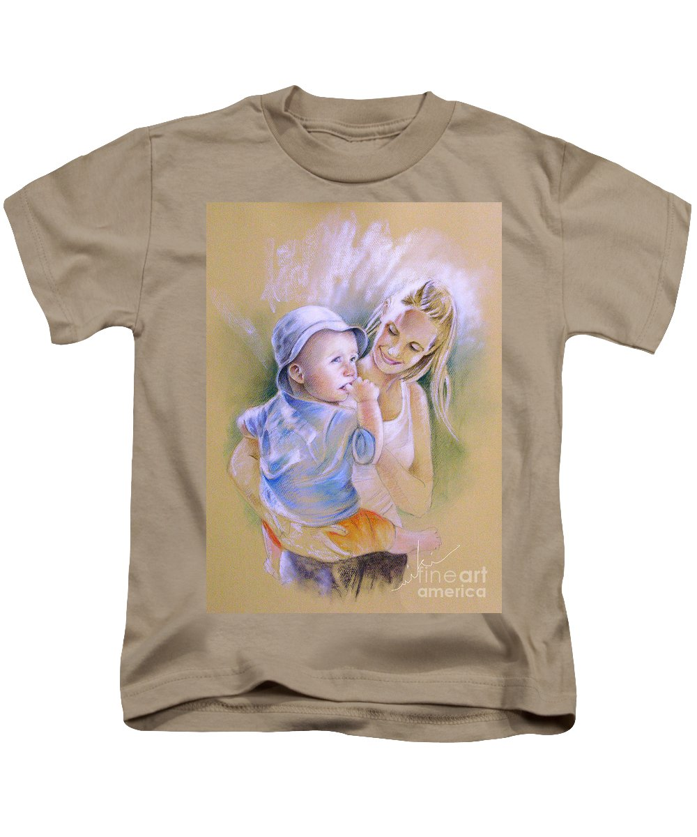 Portrait Kids T-Shirt featuring the painting Mother And Son by Miki De Goodaboom
